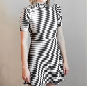 Topshop Black and White Striped Skater Dress